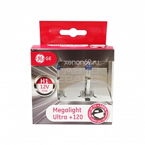 Комплект галогенных ламп GE, цоколь H1, MegaLight Ultrа +120%, 3250K, 12v/55w, блистер 2 шт.
